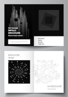 Vektor-layout von zwei a4-cover-mockups design-vorlagen für bifold-broschüre, flyer, cover-design, buchdesign. schwarzer farbtechnologiehintergrund. digitale visualisierung von wissenschaft, medizin, tech-konzept