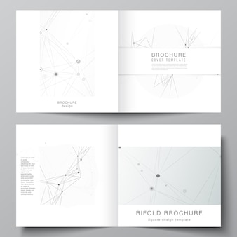 Vektor-layout von zwei cover-vorlagen für quadratische bifold-broschüren-flyer-magazin-cover-design-buch-design-broschüren-cover grauer technologiehintergrund mit verbindungslinien und punkt-netzwerkkonzept