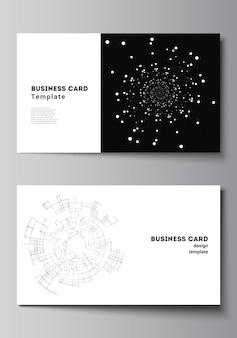 Vektor-layout von zwei kreativen visitenkarten-designvorlagen horizontale vorlage vektordesign schwarzer farbtechnologiehintergrund digitale visualisierung des wissenschaftsmedizin-technologiekonzepts