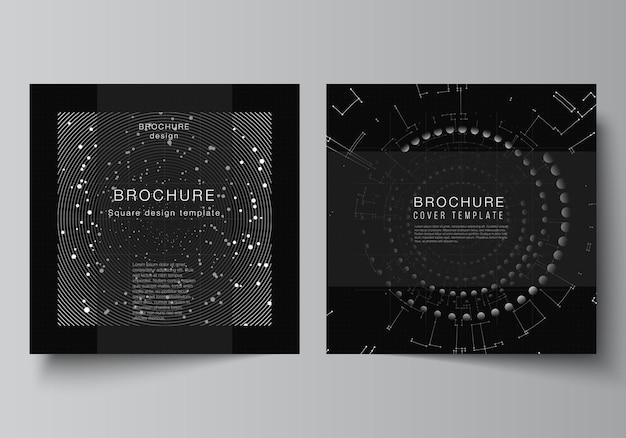 Vektor-layout von zwei quadratischen cover-design-vorlagen für broschüren-flyer-magazin-cover-design-buch-designschwarze farbtechnologie-hintergrund digitale visualisierung des wissenschaftsmedizin-tech-konzepts