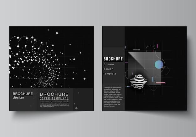 Vektor-layout von zwei quadratischen cover-vorlagen für broschüren-flyer-cover-design buchdesign broschüren-cover abstrakte technologie schwarze farbe wissenschaftshintergrund digitale daten high-tech-konzept