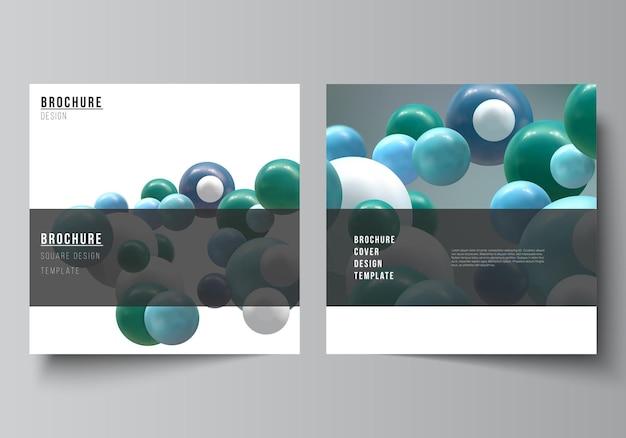 Vektor-layout von zwei quadratischen cover-vorlagen für broschüren-flyer-cover-design buchdesign broschüren-cover abstrakter vektor futuristischer hintergrund mit bunten d-kugeln glänzende blasenkugeln