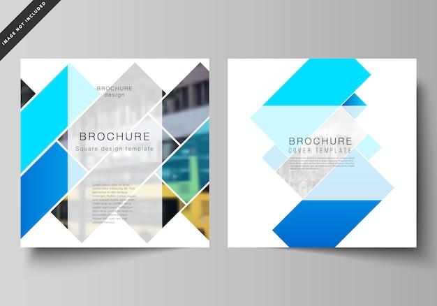 Vektor-layout von zwei quadratischen format umfasst vorlagen für die broschüre