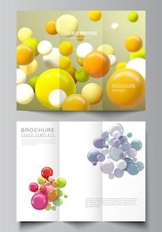 Vektor-layouts von cover-design-vorlagen für dreifach gefaltete broschüren