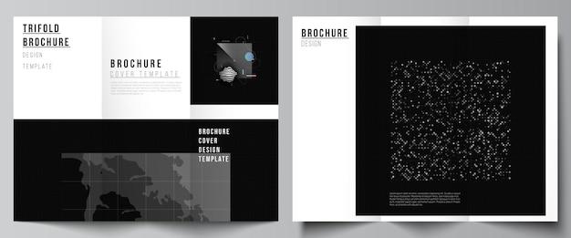 Vektor-layouts von cover-vorlagen für dreifach gefaltete broschüren-flyer-layout-buchdesign-broschüren-cover abst ...
