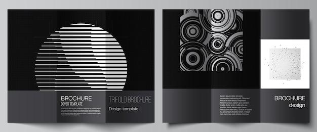 Vektor-layouts von cover-vorlagen für trifold-broschüren-flyer-layout-buchdesign-broschüren-cover abstrakte technologie schwarze farbe wissenschaftshintergrund digitale daten minimalistisches high-tech-konzept