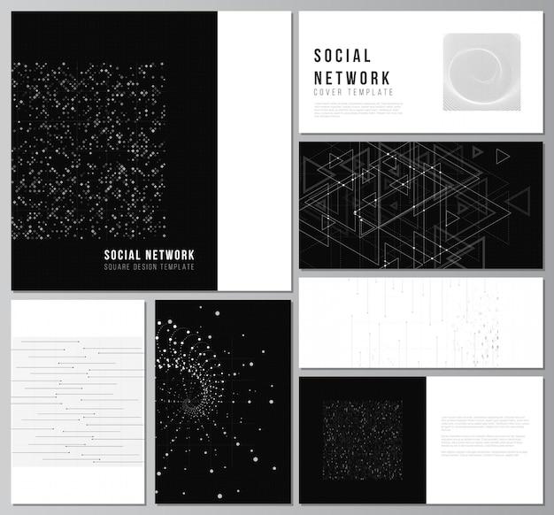 Vektor-layouts von social-network-mockups für cover-design-website-design-website-hintergründe oder werbung abstrakte technologie schwarze farbe wissenschaftshintergrund digitale daten high-tech-konzept