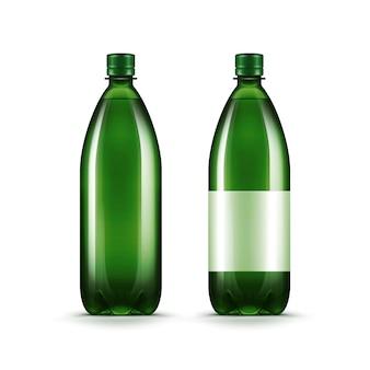 Vektor-leere grüne plastikwasserflasche isoliert