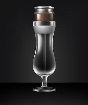 Vektor leere hurrikanglas-cocktail-shisha-vorderansicht lokalisiert auf dunklem hintergrund