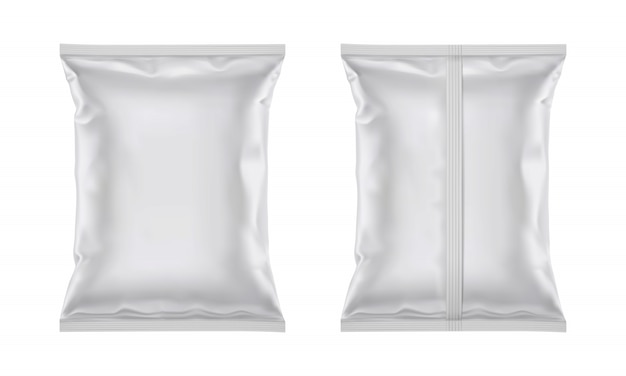 Vektor leere plastikfolienbeutel für verpackungsdesign
