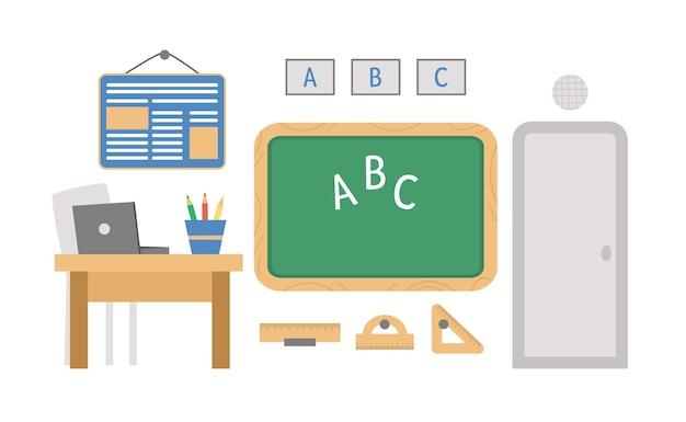 Vektor-leere schulklassenzimmerillustration. klassenzimmereinrichtung mit kreidetafel
