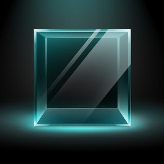 Vektor leeren transparenten glasbox würfel auf dunklem schwarz mit blauer türkisfarbener hintergrundbeleuchtung