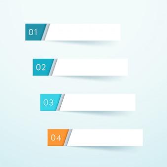Vektor-leerer bunter papieranmerkungs-element-satz von vier
