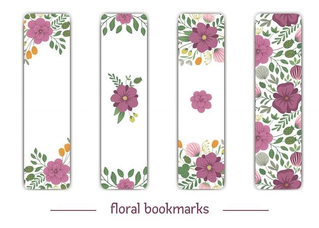Vektor lesezeichenvorlagen mit floralen elementen. flache trendige illustration mit blumen, blättern, zweigen. wiese, wald, wald clipart. kartenvorlagen mit vertikalem layout.