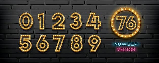 Vektor leuchten lampennummernsammlung auf schwarzer hintergrundillustration der blockwand