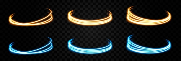 Vektor leuchtende lichtlinien neonlicht elektrisches licht portal lichteffekt