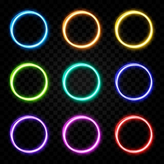 Vektor leuchtende portallichtlinien neonlicht elektrisches licht portallichteffekt png multicolor