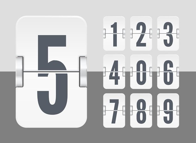 Vektor-licht-flip-anzeigetafel-vorlage mit zahlen für weißen countdown-timer oder kalender einzeln auf hellem und dunklem hintergrund.