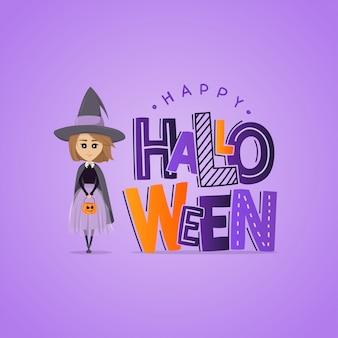 Vektor lila grußkarte für halloween. schriftzug und kleine hexe mit kürbis
