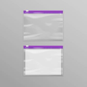 Vektor lila versiegelte leere transparente kunststoff-reißverschlusstaschen
