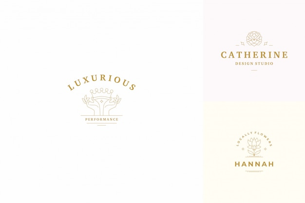 Vektor linie logos embleme design-vorlagen gesetzt