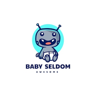 Vektor logo illustration baby monster maskottchen cartoon stil