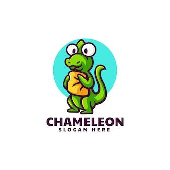 Vektor logo illustration chamäleon kissen maskottchen cartoon stil