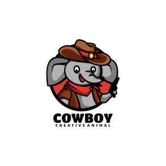Vektor logo illustration cowboy elefant maskottchen cartoon stil