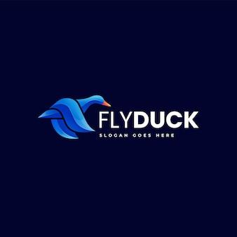 Vektor-logo-illustration der fliegenden ente mit farbverlauf im bunten stil