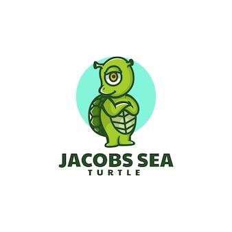 Vektor-logo-illustration der schildkröten-meeres-maskottchen-karikatur-stil