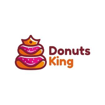 Vektor logo illustration donut king einfache maskottchen stil
