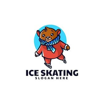 Vektor-logo-illustration eislaufen bär maskottchen cartoon-stil