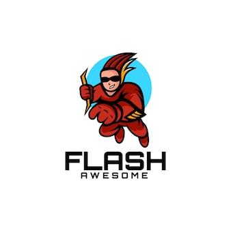 Vektor-logo-illustration flash-maskottchen-karikatur-stil