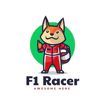 Vektor-logo illustration fox racer maskottchen cartoon-stil Premium Vektoren