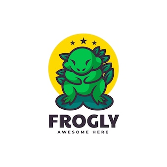Vektor-logo-illustration frosch-maskottchen-karikatur-stil.