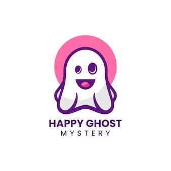 Vektor-logo-illustration ghost maskottchen cartoon-stil