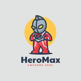 Vektor-logo illustration held max maskottchen cartoon-stil