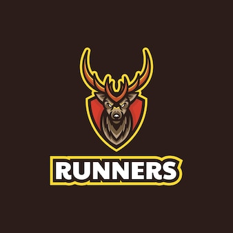 Vektor-logo-illustration hirsch läufer e sport und sport-stil