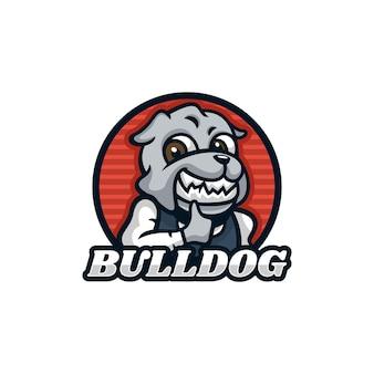 Vektor logo illustration kellner bulldog maskottchen cartoon stil Premium Vektoren