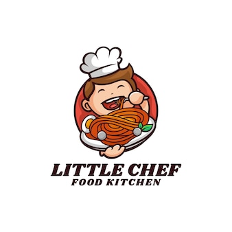 Vektor logo illustration kleine koch maskottchen cartoon stil