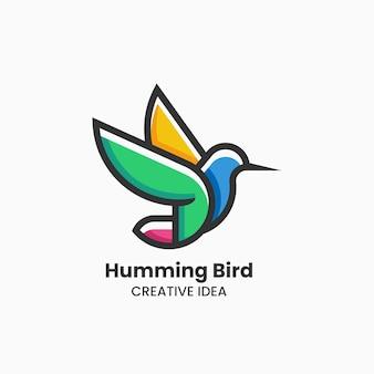 Vektor-logo-illustration kolibri im einfachen maskottchen-stil