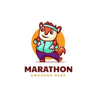 Vektor-logo-illustration marathon-maskottchen-karikatur-stil