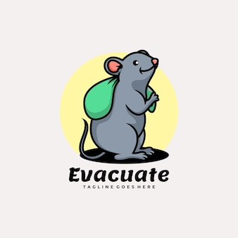 Vektor-logo-illustration maskottchen-karikatur-stil evakuieren.