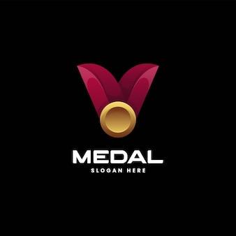 Vektor-logo-illustration-medaille mit farbverlauf im bunten stil
