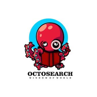 Vektor-logo-illustration mit oktopus-suche im einfachen maskottchen-stil