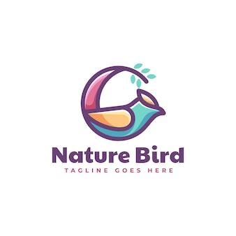 Vektor logo illustration natur vogel einfache maskottchen stil