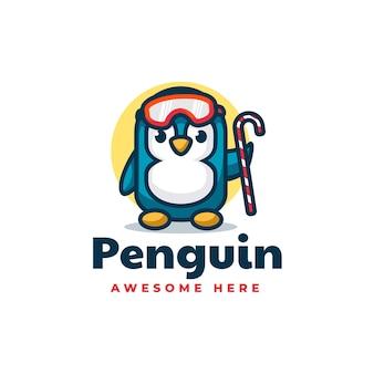 Vektor logo illustration pinguin einfache maskottchen stil