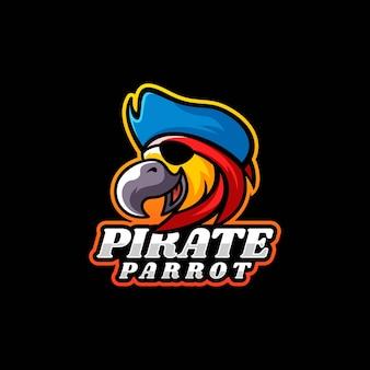 Vektor-logo-illustration piraten-papagei-maskottchen-karikatur-stil