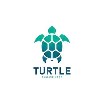 Vektor-logo-illustration schildkröte mit farbverlauf im bunten stil