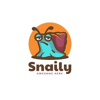 Vektor-logo-illustration schnecke einfache maskottchen-stil.